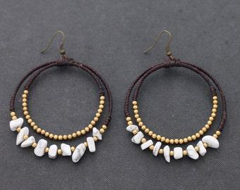 Howlite Chandelier Stone Earrings