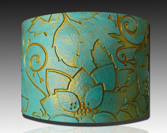 Handmade Indian turquoise and gold polymer clay cuff bracelet