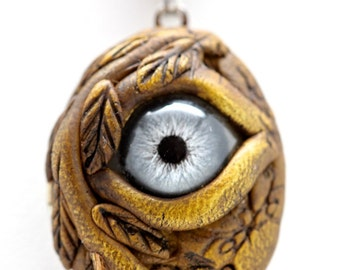 Eye Of Protection Locket Necklace hand painted glass blue human  doll eye