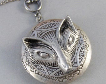 Vixen,Locket,Fox, Antique Locket,Silver Locket,Fox Locket,Woodland,Woodland Fox. Handmade jewelry by valleygirldesigns