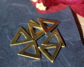 Brass Triangle Blank 12mm with Cutout for Stamping Texturing Soldering Blanks - 6 pieces