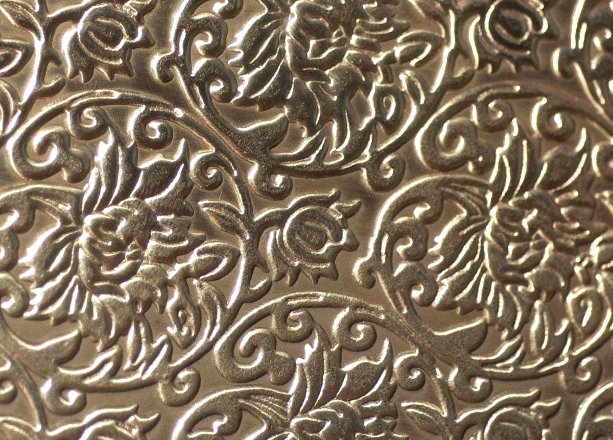 Bronze Textured Metal Sheet Lotus Flowers Pattern 26g 6 1 4