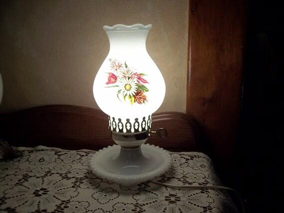 Vtg Hurricane Lamp Milk Glass Painted Flowers Hurricane
