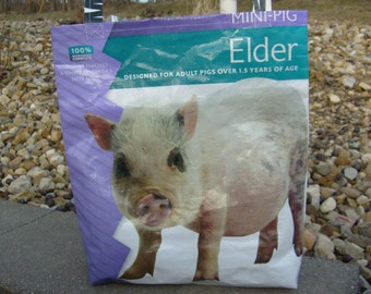 Recycled Feed Sack Minature Pot Bellied Pig Market Bag Purse Tote