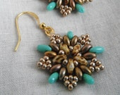 Champagne Bronze and Turquoise Picasso Bead Earrings - Rustic Snowflake