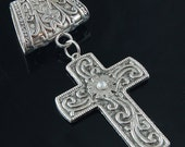 Scarf Pendant - Antique Silver Cross with Rhinestone Scarf Jewelry