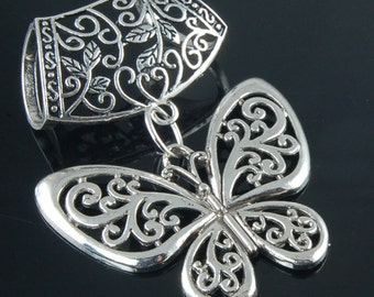 Scarf Pendant - Silver Butterfly Scarf Jewelry