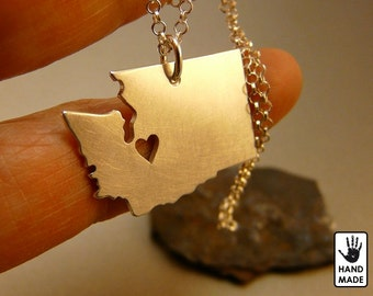 WASHINGTON State Map Handmade Personalized Sterling Silver .925 Necklace in a gift box