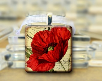 Red Poppy Pendant - vintage style Necklace #245