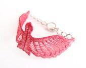 Red Bird Lace Bracelet - Zipporah - Shimmery Ruby Garnet Rose Jewelry - Dove Sparrow Cuff