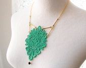 HOLD FOR CARLY Jade Lace Necklace - Minka - Green Black Gold Mixed Media Jewelry - Emerald Bib Necklace