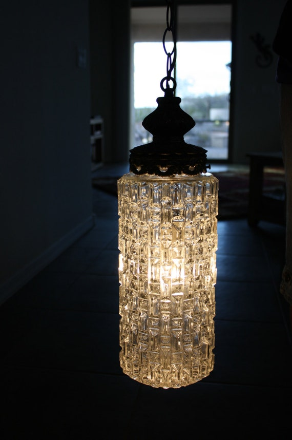 Vintage hanging light fixture swag glass bronze by for Bathroom swag lights