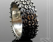 Detailed Sterling Silver Truck Tire Tread Ring