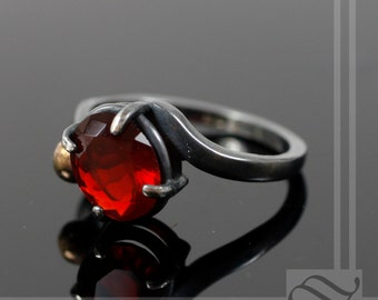 Starry Night Series - Chrerry Red Mexican Opal Ring with Gold