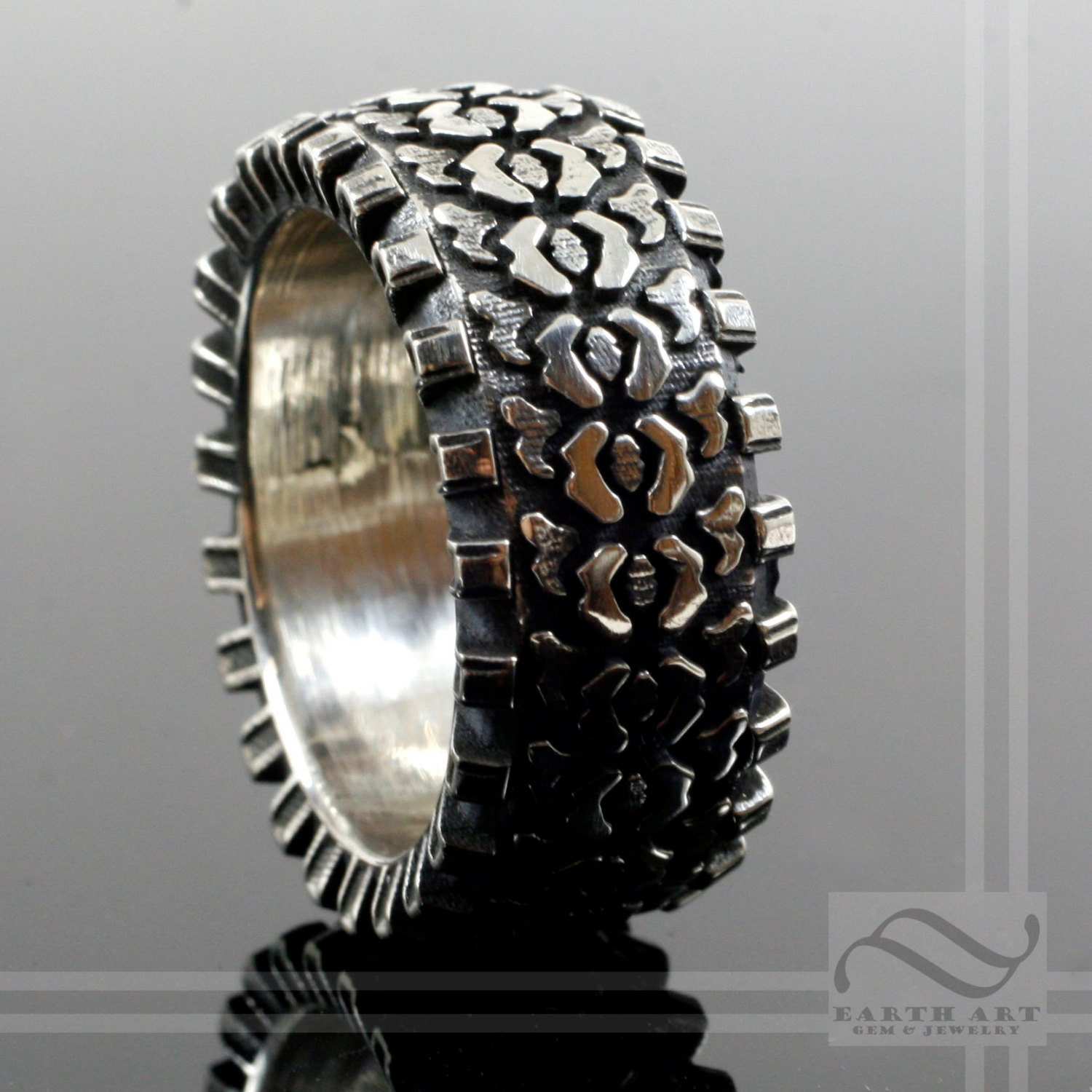 Detailed Sterling Silver Truck Tire Tread Ring Extra Thick And