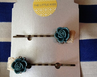 Blue rose cabochon with vintage lace bobby pins
