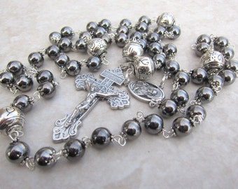 Mens Gunmetal Rosary Necklace with Silver, Handlinked