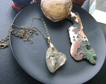 Pyrite Druzy Sloped Gemstone Heart Necklace-Rough natural form pyrite on brass chain