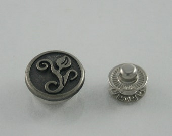 12 sets Tulip Flower Snaps Buttons Fasteners Rivet Stud Decorations Findings 15 mm. SNP N 15 5 RV WY