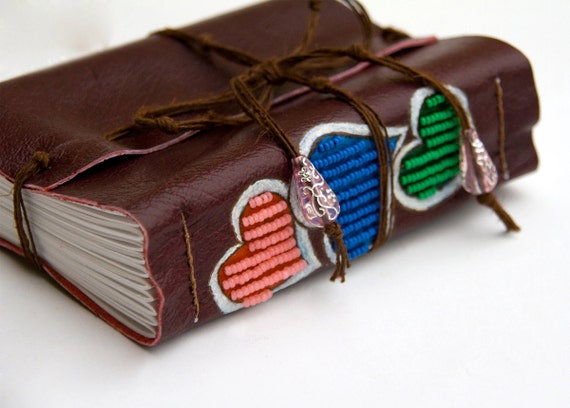 3 Hearts leather Journal Setchbook, beaded colorful love diary