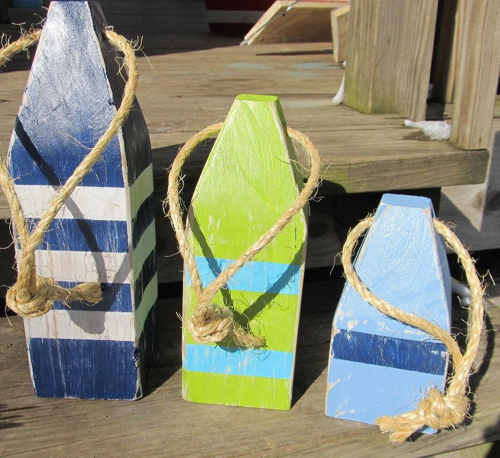 Ooak reclaimed wood buoys wooden buoys set of 3 buoys for Where can i buy nautical decor