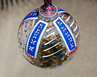 Hand Painted Patriotic Red White and Blue Glass Ornament