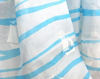 Large silk scarf by Vera. Pre-trademark, early Vera scarf, beach themed scarf, summer scarf, gift for her, blue and white scarf, mod scarf