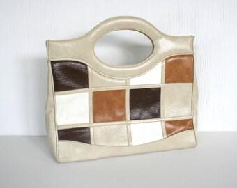 Retro handbag. 1970s, patchwork, tan, brown, caramel, white, vegan.