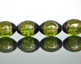 Lampwork Oval Chunky beads Gold Olivine 17mm -(LL29-6)