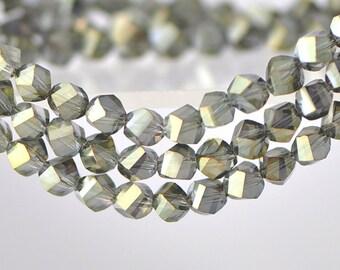 Twist Glass Crystal Beads 6mm Army Green- 95pcs / NZ0606