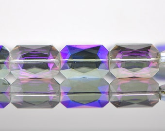 38pcs Rectangle Crystal Glass Faceted beads 20mm Sparkly Purple -(TS13-1)