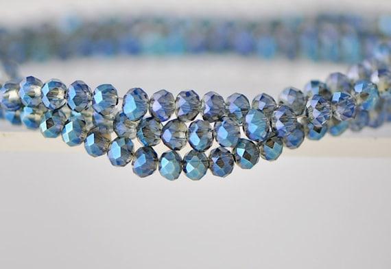 Faceted  Rondelle Glass Beads Transparent Blue 3x4mm- BZ0454 / 140Pcs