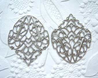 2 - Antique Silver plated filigree leaf wrap stampings - MJ174