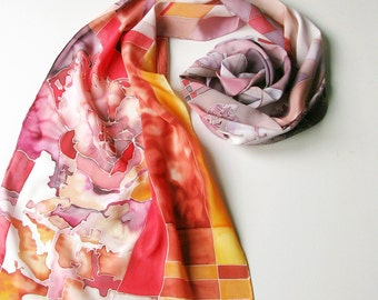 Hand painted silk scarf - red pink pastel tones - floral motives silk sacrf - crepe de chine silk scarf 18x72inch