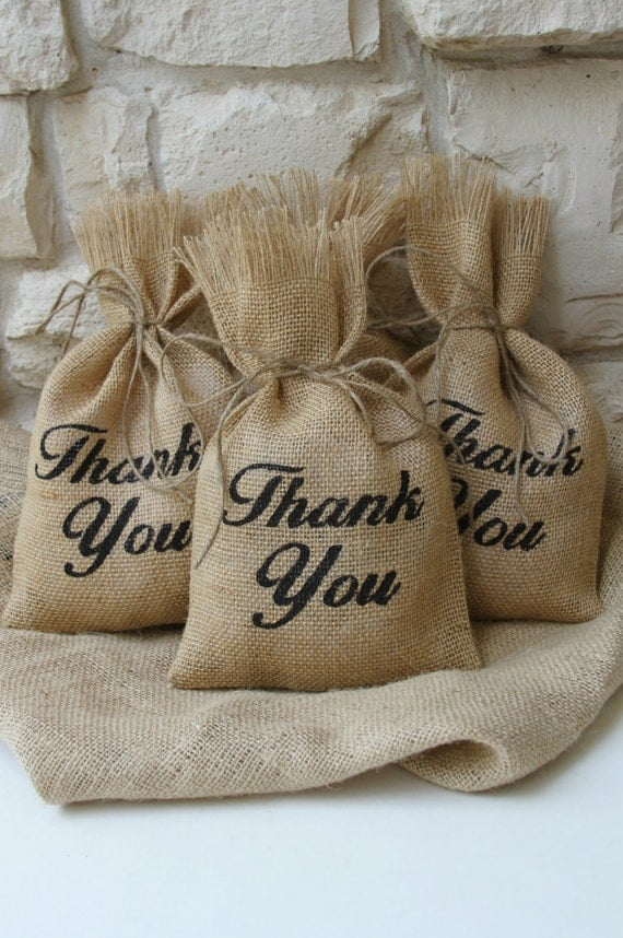 White christmas tree decoration ideas - Burlap Gift Bags Set Of Four Thank You Black And Natural Wedding