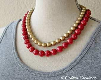 Red Jade Necklace, Gold Czech Glass, Red Gemstone Necklace, Double Strand, Gold Beaded Necklace SALE