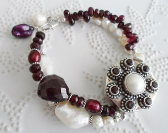 Garnet & Pearls - As seen in Bead Trends July 2013 - Dark Red Garnet with Pearly White Keishis - Marsala colored Bracelet