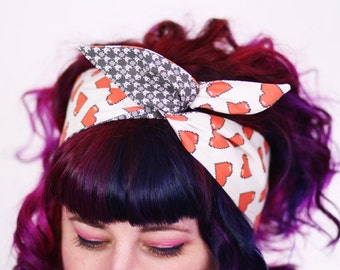 Valentines Reversible Wired Bow Headband, Red Pixel Hearts and Space Invaders