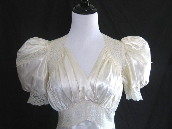 Reserved for ashley vintage 1930 39 s satin wedding dress for Slipper satin wedding dress