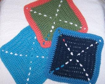 Crochet Dishcloths, Crochet Eco Spa Cloths, Crochet Kitchen Gift Set, Crochet Reusable Dishcloths, Organic Cloths