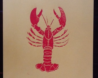 Lobster Linocut Print, 8x10 Inches, Hand Pulled, Cardstock