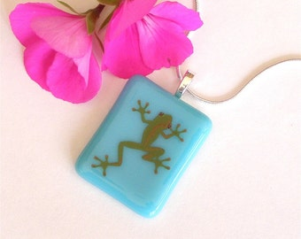 Fused Glass Pendant Necklace - Teal Blue with Green Gecko Decal - Fused Glass Jewelry