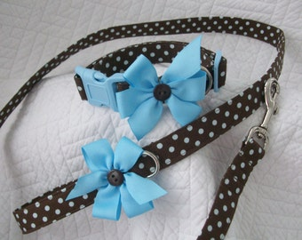 Brown Blue Polka Dot   Dog Collar and Leash Set