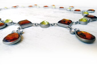 Vintage 1950s Authentic Saffron and Lime Green Austrian Crystal Necklace