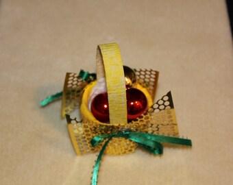 Gold Basket Christmas Ornament