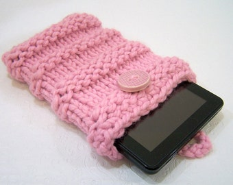 Pink IPad Mini Case, Kindle Fire, Pink Knit IPod Case, Chunky Knit Kindle Sleeve, Knit IPad Mini Sleeve, Chunky Knit IPad MIni Case Pink
