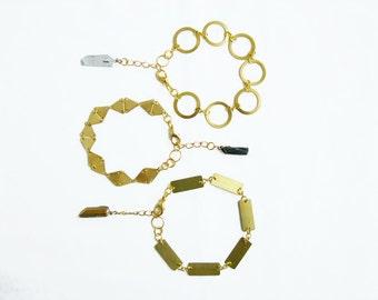 Quartz Geometric Bracelet, Adjustable Brass Bracelet with Raw Crystal Quartz Drop - Your Choice