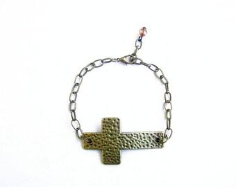 Side Cross Bracelet, Boho Brcelet, Big Sideways Bracelet,  Chain Charm Bracelet