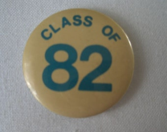Vintage Class of 82 Gold and Blue Button
