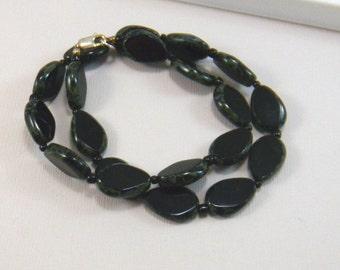 Black Beaded Necklace Black Glass Teardrop Necklace Black Necklace Womens Fashion Jewelry